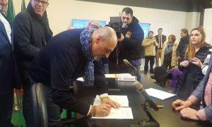 Riccardo Serri, Segretario Generale UILTuCS Liguria, firma il patto per il turismo