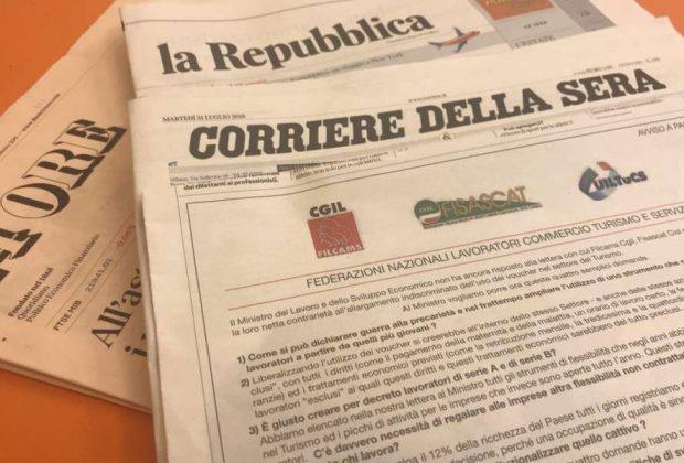 Voucher, i sindacati scrivono a Di Maio: l'appello sui principali quotidiani